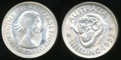 World Coins - Australia, 1955 One Shilling, 1/-, Elizabeth II (Silver) - Uncirculated