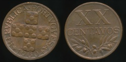 World Coins - Portugal, Republic, 1960 20 Centavos - Uncirculated