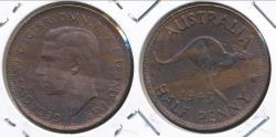 World Coins - Australia, 1943(I) Halfpenny, 1/2d, George VI - almost Uncirculated