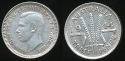 World Coins - Australia, 1944(s) Threepence, 3d, George VI (Silver) - Extra Fine