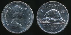 World Coins - Canada, Confederation, 1979 5 Cents, Elizabeth II - Uncirculated