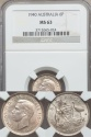 World Coins - Australia, 1940 Sixpence, 6d, George VI (Silver) - NGC MS63