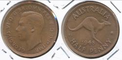 World Coins - Australia, 1948(m) Halfpenny, 1/2d, George VI - Uncirculated