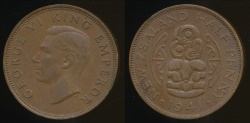 World Coins - New Zealand, 1941 Halfpenny, 1/2d, George VI - Extra Fine