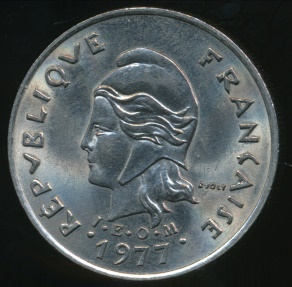 World Coins - New Hebrides, French/British Condominium, 1977 10 Francs - almost Uncirculated
