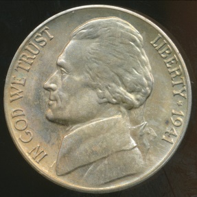 World Coins - United States, 1941-D 5 Cents, Jefferson Nickel - Uncirculated