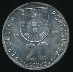 World Coins - Portugal, Republic, 1999 20 Escudos - Uncirculated