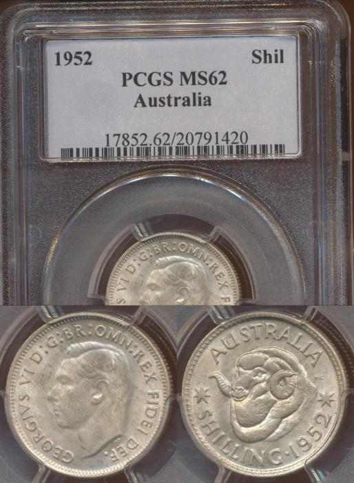 World Coins - Australia, 1952 Shilling - PCGS MS62