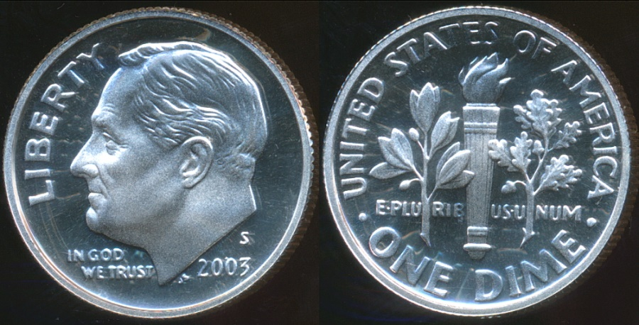 World Coins - United States, 2003-S Dime, Roosevelt (Silver) - Proof