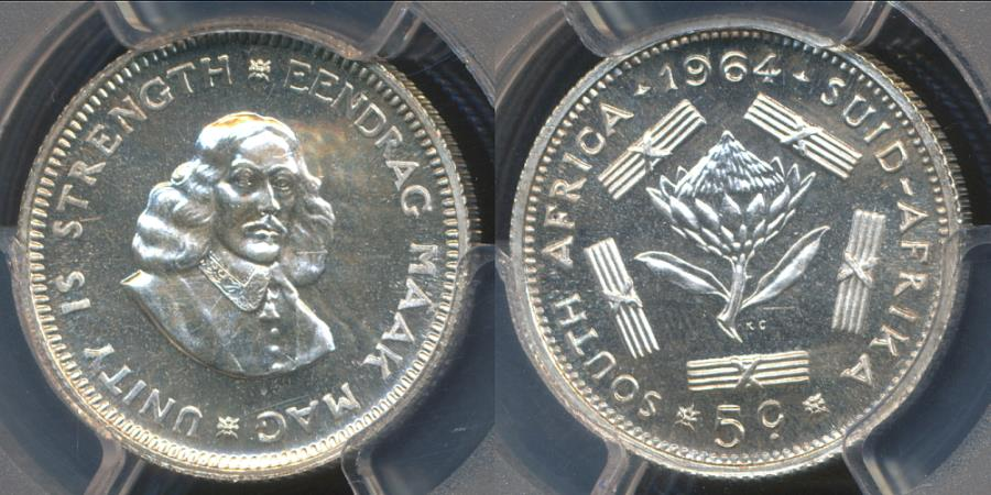 World Coins - South Africa, 1964 5 Cents (Silver) - PCGS PR67 (Proof)