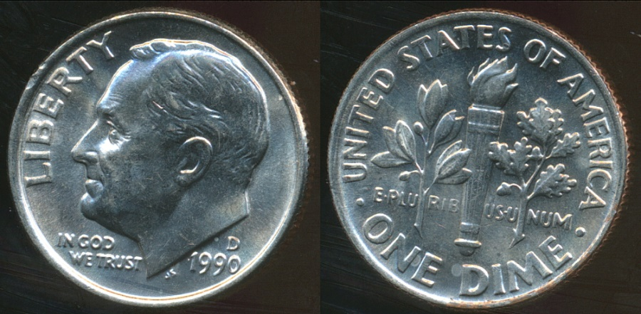 World Coins - United States, 1990-D Dime, Roosevelt - Uncirculated