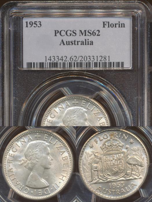 World Coins - AUSTRALIA - 1953 Florin - PCGS MS62