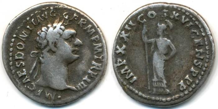 Ancient Coins - DOMITIAN, AR Denarius, AD 81-96, (20mm, 3.50 g) Rome mint, Struck 92 AD - RIC 742