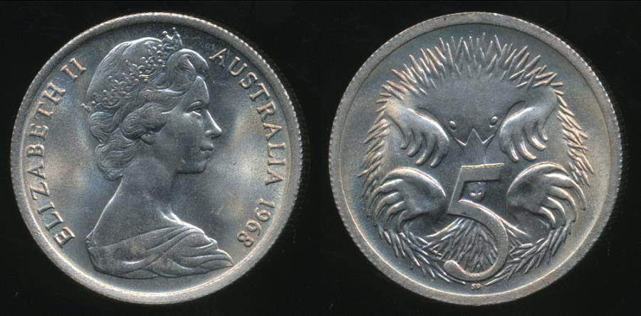 1968 australian 5 cent coin