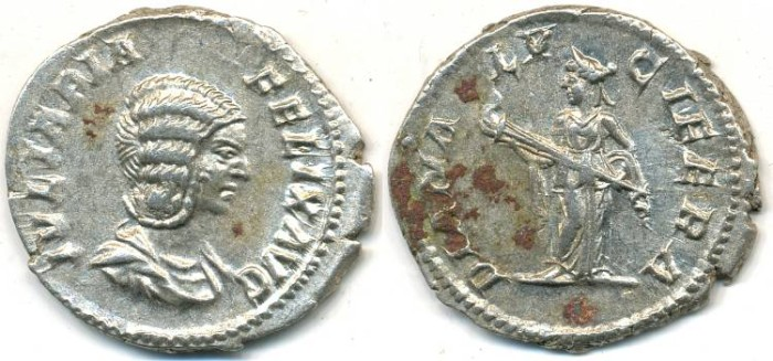 Ancient Coins - JULIA DOMNA. AR Denarius, AD 193-217, Rome mint, (20mm, 3.10 gm) - RIC 373a