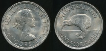 World Coins - New Zealand, 1965 Florin, 2/-, Elizabeth II - Uncirculated