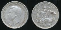 World Coins - Australia, 1943(d) Sixpence, 6d, George VI (Silver) - Fine