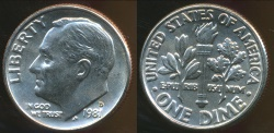 World Coins - United States, 1981-D Dime, Roosevelt - Choice Uncirculated