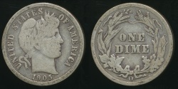 World Coins - United States, 1905-O Dime, Barber (Silver) - Fine