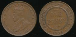 World Coins - Australia, 1934 One Penny, 1d, George V - Extra Fine