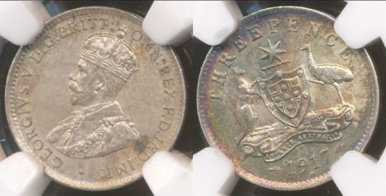 World Coins - Australia, 1917(m) Threepence, George V (Silver) - NGC MS62