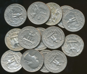World Coins - United States, Group of 14 Quarter Dollar, Washington - Circulated