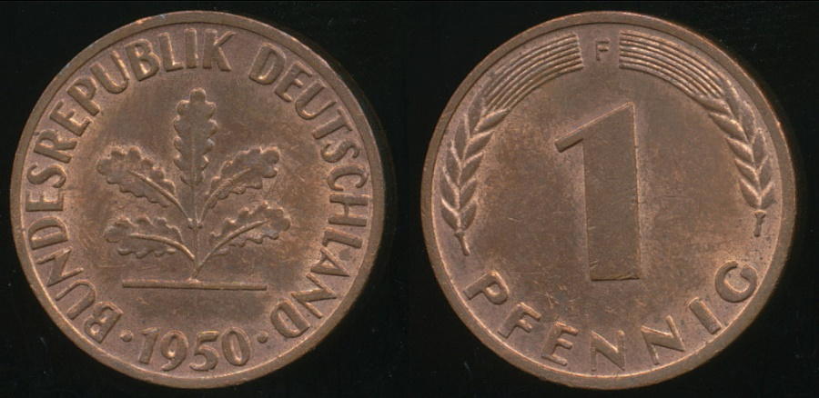 GERMANY UNCIRCULATED 1950-G 1 PFENNIG KM105