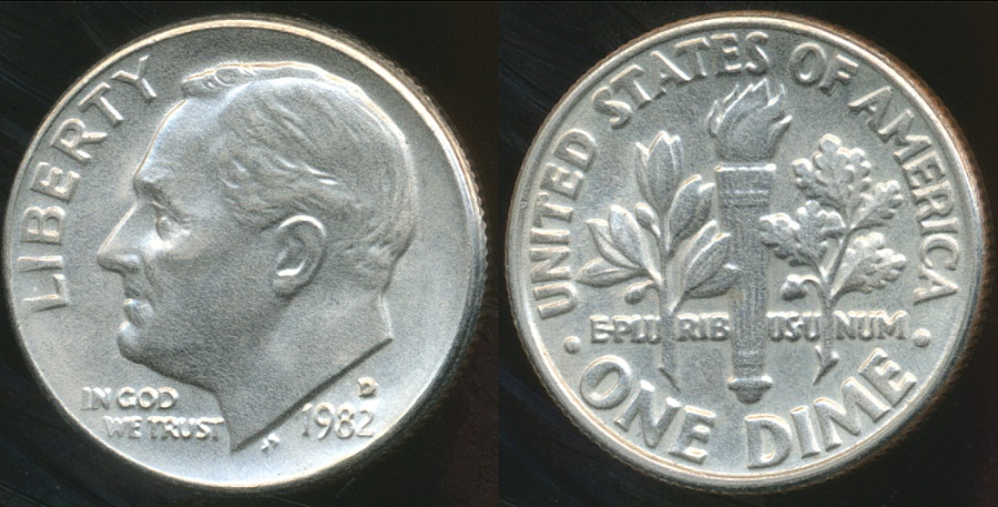 World Coins - United States, 1982-D Dime, Roosevelt - Uncirculated