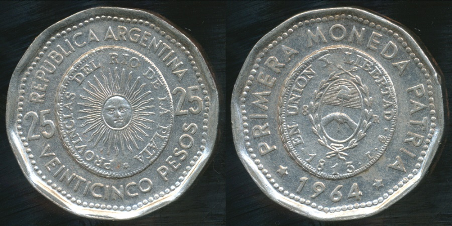 World Coins - Argentina, Republic, 1964 25 Pesos (1st issue of National Coinage in 1813) - Uncirculated