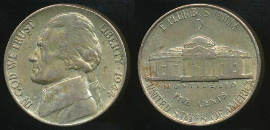 United States 1944 D 5 Cents Jefferson Nickel Silver