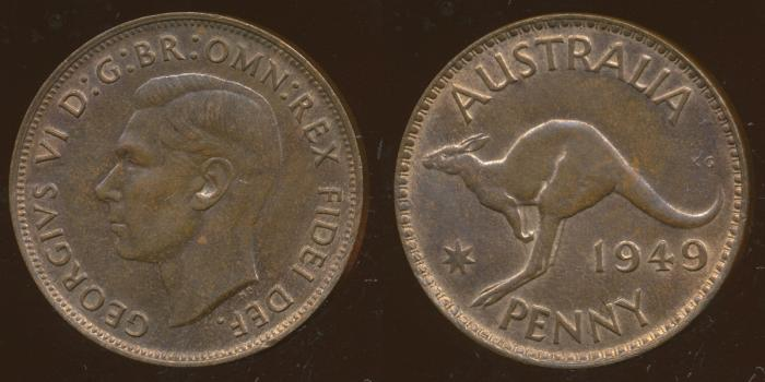 World Coins - AUSTRALIA - 1949, One Penny, George VI - Unc