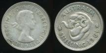 World Coins - Australia, 1961 One Shilling, 1/-, George VI (Planchet Flaw)(Silver) - Very Fine