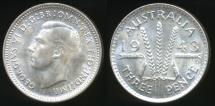 World Coins - Australia, 1943(d) Threepence, 3d, George VI (Silver) - Uncirculated