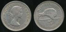 World Coins - New Zealand, 1964 Florin, 2/-, Elizabeth II - Extra Fine