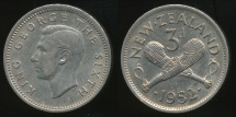 World Coins - New Zealand, 1952 Threepence, 3d, George VI - almost Uncirculated
