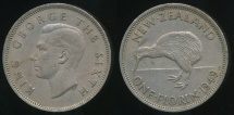World Coins - New Zealand, 1949 Florin, 2/-, George VI - Very Fine