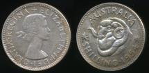 World Coins - Australia, 1954 One Shilling, 1/-, Elizabeth II (Silver) - Uncirculated