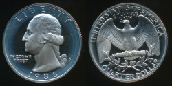 World Coins - United States, 1986-S Quarter, 1/4 Dollar, Washington - Proof