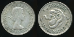 World Coins - Australia, 1961 One Shilling, 1/-, George VI (Planchet Flaw)(Silver) - Very Fine
