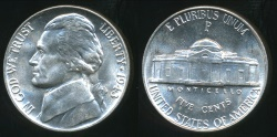 World Coins - United States, 1943-P 5 Cents, Jefferson Nickel (Silver) - Uncirculated