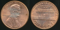 World Coins - United States, 1984-D One Cent, Lincoln Memorial - Uncirculated