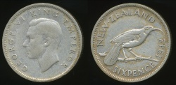 World Coins - New Zealand, 1942 Sixpence, 6d, George VI (Silver) - Fine