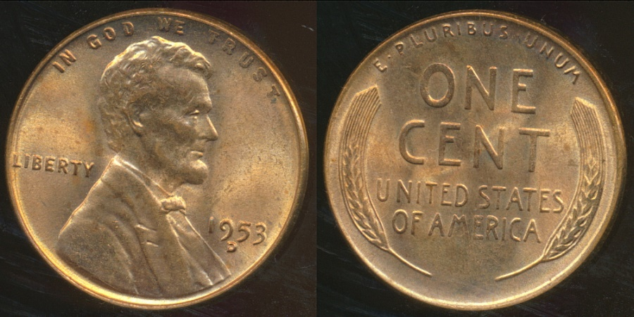 World Coins - United States, 1953-D One Cent, Lincoln Wheat - Uncirculated