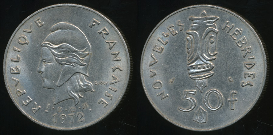 World Coins - New Hebrides, French/British Condominium, 1972 50 Francs - Extra Fine