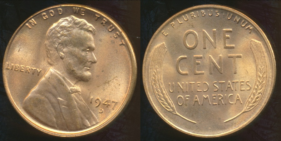 World Coins - United States, 1947-D One Cent, Lincoln Wheat - Choice Uncirculated