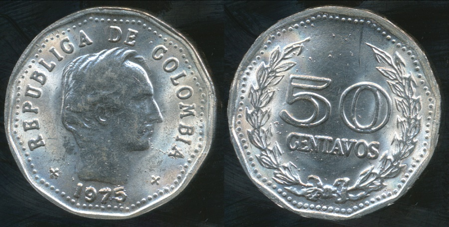 World Coins - Colombia, Republic, 1975 50 Centavos - Uncirculated
