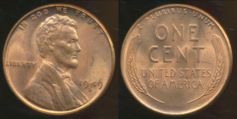 World Coins - United States, 1949-D One Cent, Lincoln Wheat - Uncirculated