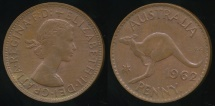 World Coins - Australia, 1962(p) One Penny, 1d, Elizabeth II - almost Uncirculated