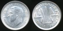 World Coins - Australia, 1947 Threepence, 3d, George VI (Silver) - Uncirculated