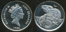 World Coins - New Zealand, 1986 5 Cents, Elizabeth II - Proof